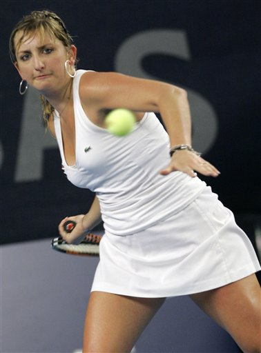 Switzerland's Timea Bacsinszky in the final of the Luxembourg Open WTA (AP Photo/Yves Logghe, Tennis.com)
